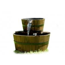 Záhradná fontána - fontána s dvoma drevenými vedrami
