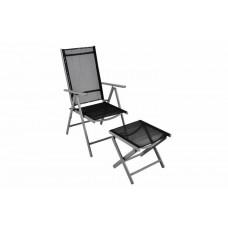 Hliníková skladacia stolička s podnožkou