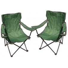Kempingová sada - 2 x skladacia stolička s držiakom - zelená