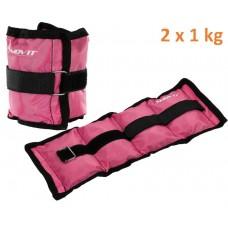 MOVIT záťažové manžety, 2 x 1 kg ružová