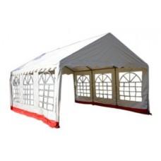 Záhradný stan - biela / červená, 4 x 6 m