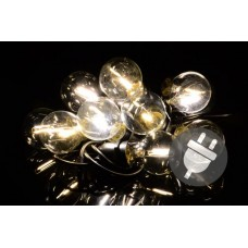 Záhradné párty osvetlenie LED - sklenené žiarovky - 5 m teplá biela