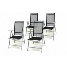 Záhradná sada 4 skladacích stoličiek - čierna