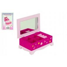 Skříňka šperkovnice Princess zrcadlo dřevo 17x7x11,5cm v krabici
