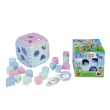 Baby set vkládací kostka Mimi+kousací kroužky v krabičce 13x13cm 6m+