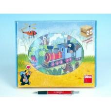 Kostky kubus Krtek a dopravní prostředky dřevo 20ks v krabičce 26x21x4cm
