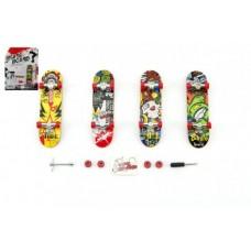 Skateboard prstový plast 10cm s doplňky asst na kartě