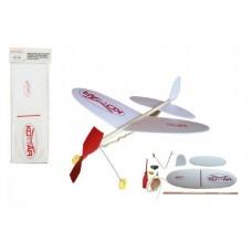 Letadlo Komár model na gumu polystyren/dřevo 38x31cm v sáčku