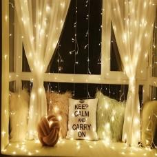 Vianočné osvetlenie - svetelný záves - 3 x 3 m teplá biela 300 LED