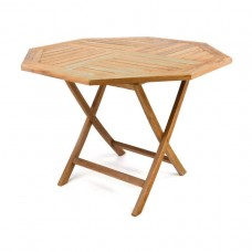 DIVERO skladací záhradný stolík z teakoveho dreva, Ø 100 cm