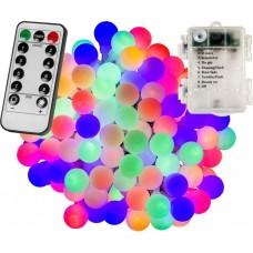 Párty LED osvetlenie 10m - farebné 100diód - BATÉRIE ovládač