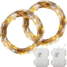 Sada 2 kusov svetelných drôtov - 50 ľad, teplá / studená