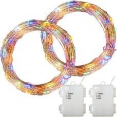 Sada 2 kusov svetelných drôtov 100 LED na batérie - farebná
