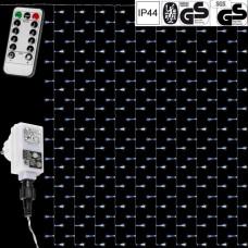 Vianočné osvetlenie - svetelný záves - 3 x 6 m studená biela 600 LED