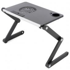 Notebookový stolík s USB ventilátorom - striebornočierny