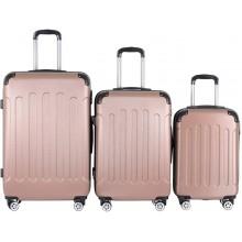 Sada cestovných kufrov 3-dielna, tvrdý plast, rosa gold