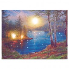Nástenná maľba horské jazero, 3 LED + 40 LED, 30 x 40 cm