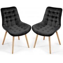 Sada prešívaných jedálenských stoličiek, čierne, 2 ks