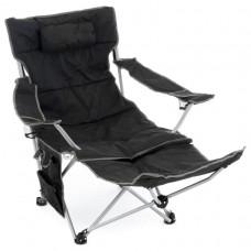 Kempingová stolička s odnímateľnou podnožkou, čierna