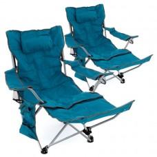 Sada 2 ks kempingových stoličiek s podnožkou, modrá