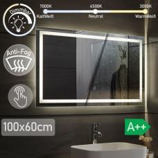 AQUAMARIN kúpeľňové zrkadlo s LED osvetlením, 100 x 60 cm