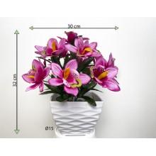 Umelá kvetina - orchidea v kvetináči - svetlo- ružová, 32 cm