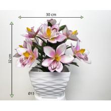 Umelá kvetina - orchidea v kvetináči -  ružovo- biela, 32 cm