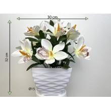 Umelá kvetina - orchidea v kvetináči - biela, 32 cm