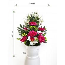 Umelá kvetina - ruža v kvetináči - tmavo-ružová, 62 cm